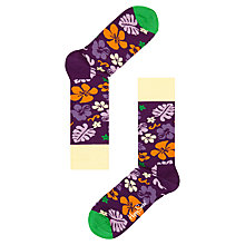 Buy Happy Socks Hawaii Print Socks, One Size, Navy Online at johnlewis.com