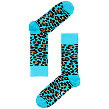 Buy Happy Socks Leopard Print Socks, One Size, Blue/Leopard Print Online at johnlewis.com