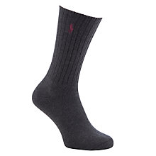 Buy Polo Ralph Lauren Ribbed Cotton Socks, Grey, One Size Online at johnlewis.com