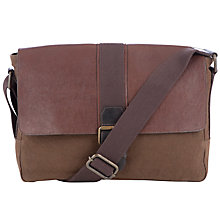Buy John Lewis Peru Canvas & Leather Messenger Bag, Brown Online at johnlewis.com
