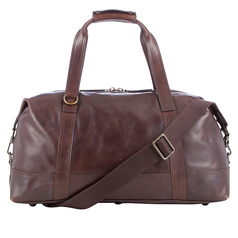 Buy John Lewis Salvadore Leather Holdall, Brown Online at johnlewis.com