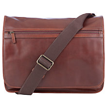 Buy John Lewis Salvadore Leather Messenger Bag, Brown Online at johnlewis.com