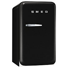 Buy Smeg FAB5RR Retro Mini Bar Fridge, 40cm Wide, Black Online at johnlewis.com