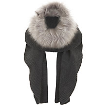 Buy Mint Velvet Faux Fur Trim Scarf, Silver Grey Online at johnlewis.com