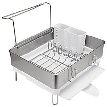 Buy simplehuman Compact Steel Dish Drainer, White Online at johnlewis.com