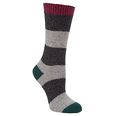 Buy John Lewis Wool & Silk Mix Stripe Ankle Socks, Grey/Charcoal Online at johnlewis.com
