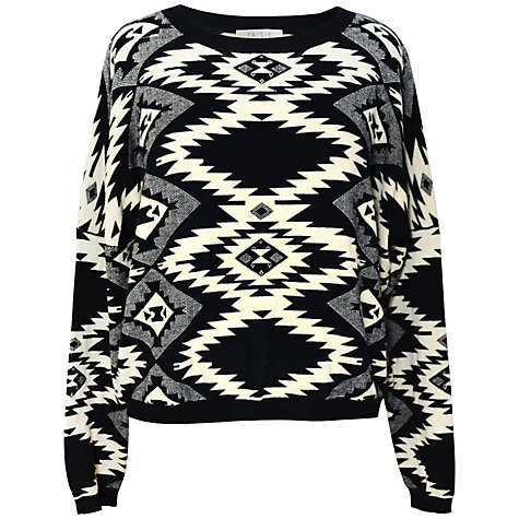 Buy Paisie Geometric Patterned Jumper, Black/White Online at johnlewis.com