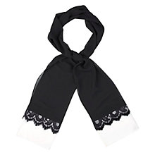 Buy Jacques Vert Lace Trimmed Shawl, Black Online at johnlewis.com