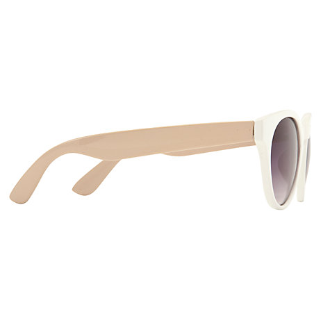 Buy John Lewis Women's Colour Block Round Acetate Sunglasses, White/Cream Online at johnlewis.com