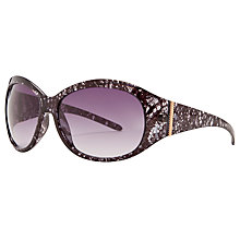 Buy John Lewis Ladies Lace Print Wrap Around Acetate Sunglasses, Purple Online at johnlewis.com