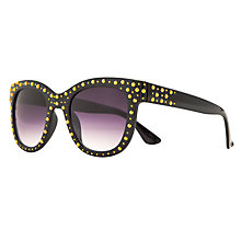 Buy John Lewis Ladies Gold Studs D-Frame Acetate Sunglasses, Black Online at johnlewis.com