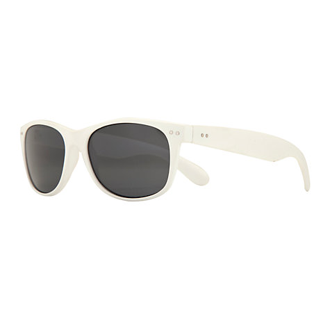 Buy John Lewis Unisex Matte D-Frame Acetate Sunglasses, White Online at johnlewis.com