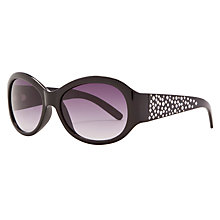 Buy John Lewis Ladies Diamanté Detail Oval Frame Sunglasses, Black Online at johnlewis.com