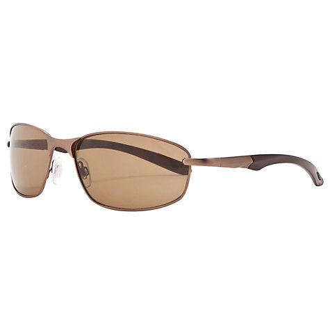 Buy John Lewis Rectangular Frame Metal Wrap Sunglasses, Bronze Online at johnlewis.com