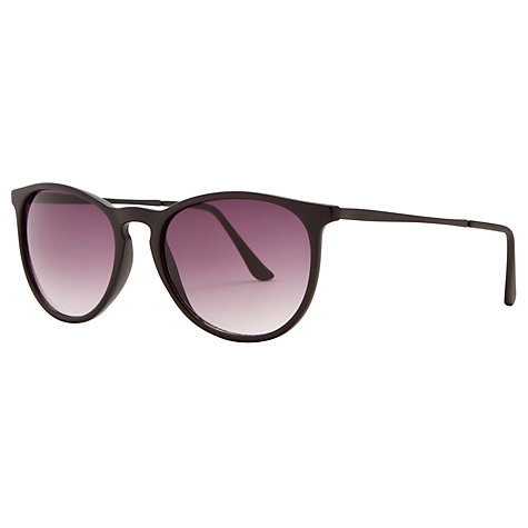 Buy John Lewis Ladies Matte Acetate Preppy Round Framed Sunglasses, Black Online at johnlewis.com
