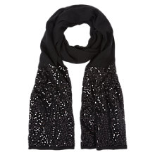 Buy Hobbs Sequin Scarf, Black Online at johnlewis.com