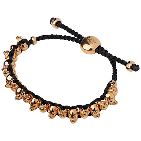 Buy Links of London Gold Vermeil Skull Friendship Bracelet, Black Online at johnlewis.com