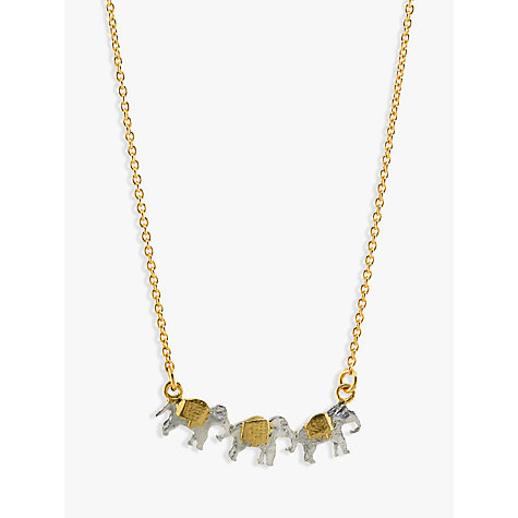 Buy Alex Monroe 22ct Gold Vermeil Elephant Trio Necklace, Gold Online at johnlewis.com