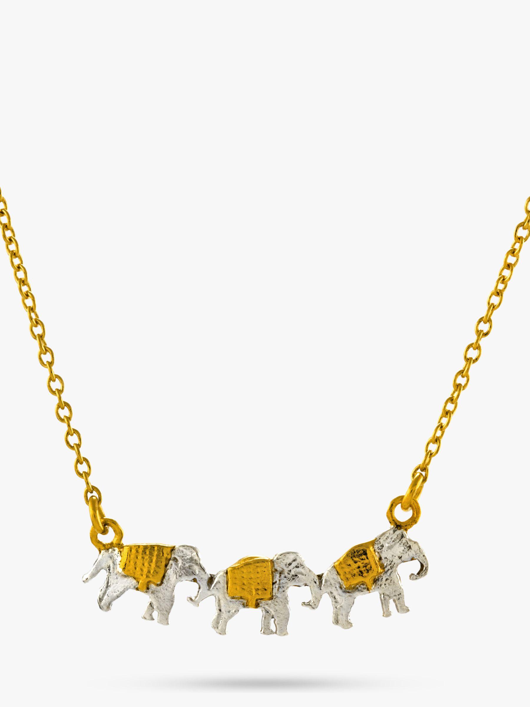 Alex Monroe Alex Monroe 22ct Gold Vermeil Elephant Trio Necklace, Gold