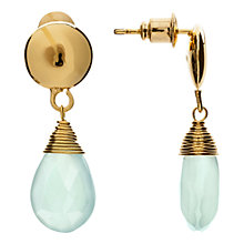 Buy Azuni 24ct Gold Plated Smooth Button Drop Earrings, Amazonite Online at johnlewis.com