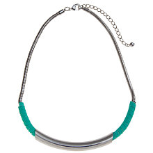 Buy John Lewis Silver Toned Bar And Wrap Necklace, Teal Online at johnlewis.com