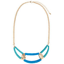 Buy John Lewis Gold Toned Linked Knot Necklace, Teal Online at johnlewis.com