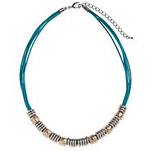 Buy John Lewis Cord & Ring Hoop Necklace, Silver / Teal Online at johnlewis.com