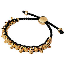Buy Links of London Rose Gold Vermeil Skull Friendship Bracelet, Black Online at johnlewis.com