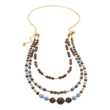 Buy Azuni 18ct Gold Plated Tripe Row Strand Necklace, Smoky Quartz / Aqua Jade Online at johnlewis.com
