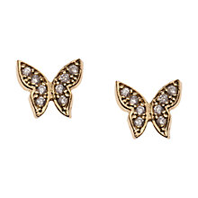 Buy Orelia Tiny Butterfly Stud Earrings, Gold Online at johnlewis.com