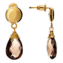 Buy Azuni 18ct Gold Plated Button Teardrop Earrings, Smoky Quartz Online at johnlewis.com