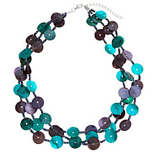 Buy John Lewis Silver Toned Shell Button Necklace, Teal Online at johnlewis.com