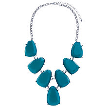 Buy John Lewis Silver Plated Large Stone Necklace, Teal Online at johnlewis.com