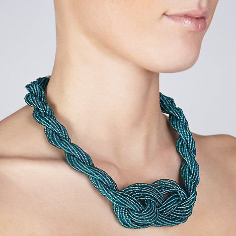 Buy John Lewis Twisted Seed Bead Statement Necklace, Teal Online at johnlewis.com