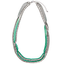 Buy John Lewis Silver Plated Dip Dye Long Necklace, Teal Online at johnlewis.com