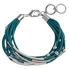 Buy John Lewis Silver Plated Cord Bracelet, Teal Online at johnlewis.com