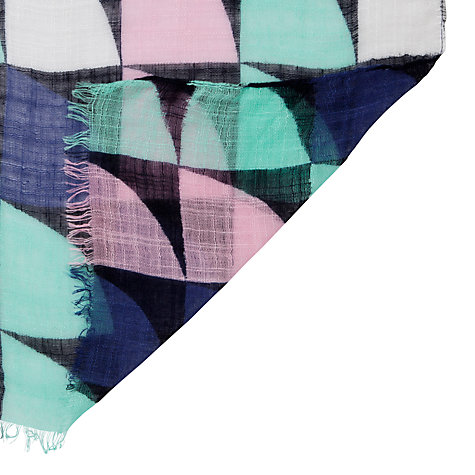 Buy John Lewis Colourful Geometric Print Scarf, Navy Multi Online at johnlewis.com