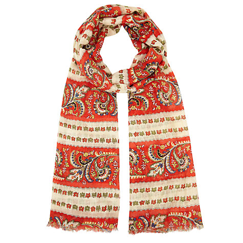 Buy Somerset by Alice Temperley Stripe Tapestry Print Scarf, Orange Online at johnlewis.com