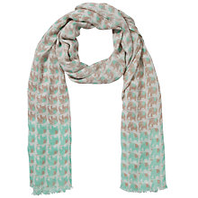 Buy John Lewis Mini Elephant Print Scarf, Green/Taupe Online at johnlewis.com