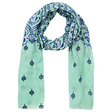 Buy Collection WEEKEND by John Lewis Paisley Block Print Scarf, Pale Green Online at johnlewis.com