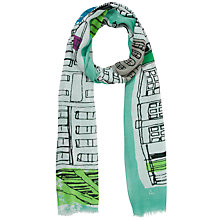 Buy John Lewis Street Scene Print Scarf, Green Online at johnlewis.com