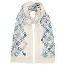 Buy Somerset by Alice Temperley Manor Embroidered Silk Georgette Scarf, White/Blue Online at johnlewis.com