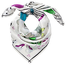 Buy John Lewis Shopping Print Silk Square Scarf, Multi Online at johnlewis.com