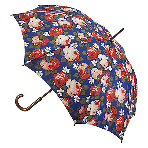 Buy Cath Kidston Kensington Aubrey Rose Print Walking Umbrella, Navy/Red Online at johnlewis.com