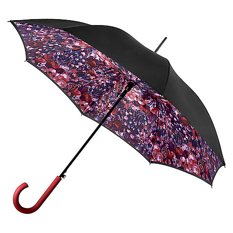 Buy Fulton Bloomsbury Floral Watercolour Print Walking Umbrella, Black/Purple Online at johnlewis.com
