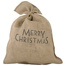 Buy East of India Merry Christmas Sack, Brown Online at johnlewis.com