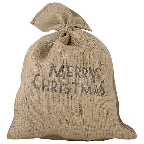 Buy East of India Merry Christmas Santa Sack, Brown Online at johnlewis.com
