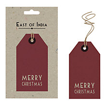 Buy East of India Merry Christmas Gift Tags, Pack of 6, Red Online at johnlewis.com
