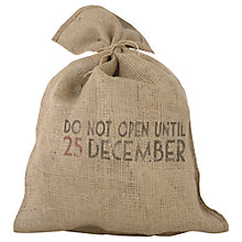 Buy East of India Do Not Open Until 25 December Christmas Santa Sack, Brown Online at johnlewis.com