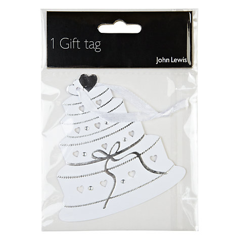 Buy John Lewis Wedding Cake Gift Tag, White Online at johnlewis.com